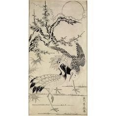 Two Cranes and a Plum Tree, a Japanese painting, c.1741 to c.1764; the cranes symbolise longevity; the bamboo, flexibility, and the flowering cherry, fortitude. (Victoria & Albert Museum)