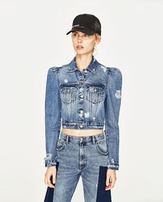 8d240579db0 Zara Women s Denim jacket with puff sleeves 5252 016 ( 44) ❤ liked ...
