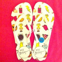 HP 4/4/16 Betsey Johnson Flip Flops Casual Chic Party HP 4/4/16 Fun & Girly! NWOT! Authentic Betsey Johnson Flip Flops with Girly & Fun Graphics. White Straps. White Platform Soles. Man Made Materials. Brand New. Excellent Condition. No Trades. Betsey Johnson Shoes