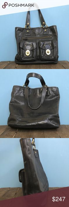 """Coach Legacy Limited Edition """"Gigi"""" tote shopper Coach 65th Anniversary large double pocket """"Gigi"""" tote shopper bag in black vachetta leather. Very good used condition.  Flaws on this bag are consistent with lighter than normal bag of its age. There are some light scuffs on the bag- see photos. Leather looks nice and has a somewhat distressed vintage look which is to be expected with this type of leather. Very thick and durable!  Inside lining is very clean. Original Coach hang tag and charm…"""