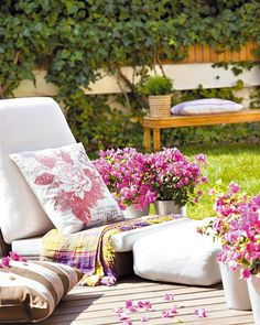 Romantic colorful terraces and gardens decoration