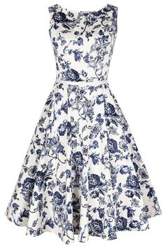 Demure Floral Boat Neck Skater Dress - OASAP.com