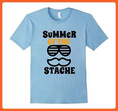 Mens Summer of the Stache Funny Funky Shades Mustache TShirt Small Baby Blue - Funny shirts (*Partner-Link)