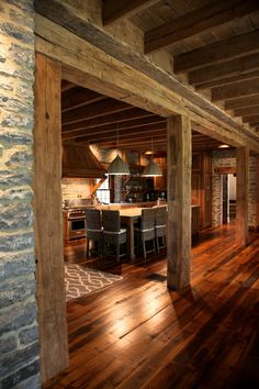 Needs lighter floors but like the beams over kitchen and exposed beams on ceiling Cabin Interiors, Rustic Interiors, Barn House Plans, Pole Barn Homes, Ranch Style Homes, Log Cabin Homes, Rustic Kitchen, Cabana, My Dream Home