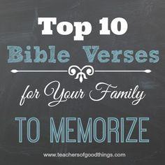 Top 10 Bible Verses for Your Family to Memorize www.joyinthehome.com