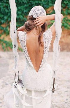 wedding dress # lowback, love the detailing of the lace on the shoulders