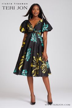 This short sleeve tea-length cocktail dress is perfect for formal outdoor and indoor events! The cotton jacquard fabric features colorful floral print. Pair with black or gold shoes. Tea Length Cocktail Dresses, Navy Cocktail Dress, Backyard Weddings, Gold Shoes, Jacquard Fabric, Mother Of The Bride, Bride Groom, Party Dress, Cocktails