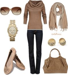 Tan Fall / Winter Outfit.  Turtleneck Sweater, Scarf, Flats, Purse & Blue Jeans.