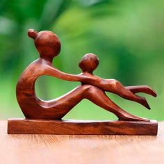 Wood sculpture, 'Playful Mother' - Hand-Carved Suar Wood Mother and Child Sculpture from Bali Abstract Sculpture, Bronze Sculpture, Wood Sculpture, Metal Sculptures, Sculpture Ideas, Wooden Statues, Wooden Art, Mother Art, Mother And Child