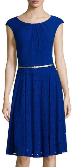 LONDON TIMES London Style Collection Cap-Sleeve Eyelet Belted Fit-and-Flare…