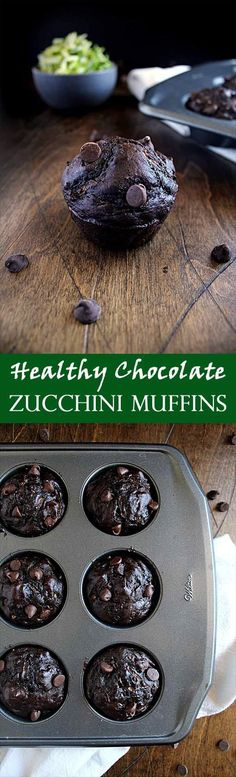 Healthy Chocolate Zucchini Muffins | Chocolate Chip | Easy Skinny Recipe | Greek Yogurt | Breakfast