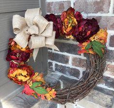Fall Grapevine Wreath with Peonies Purple Orange Yellow Burlap Bows, Fall Wreaths, Orange Yellow, Grapevine Wreath, Handmade Crafts, Peonies, Fall Decor, Vase, Purple