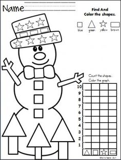 Free Christmas Graph Worksheet. Fun December preschool