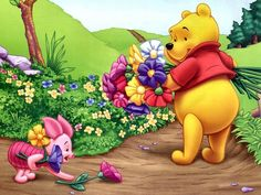 """Piglet and Pooh with Their Fresh Cut Flowers. """"Winnie the Pooh and Friends"""" Winne The Pooh, Cute Winnie The Pooh, Winnie The Pooh Quotes, Cartoon Wallpaper, Disney Wallpaper, Friends Wallpaper, Hd Wallpaper, Desktop Wallpapers, Funny Cartoon Pictures"""