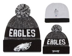 Men's / Women's Philadelphia Eagles New Era NFL 2016 Sideline Sports Knit Pom Pom Beanie Hat - Grey / Black / White
