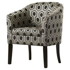 Make a stunning addition to your decor with this Barrel Chair. The arms of this chair offer sufficient support that makes sitting on it a comfortable experience. The flared arms of the club chair have been upholstered in chenille, which adds to its comfort and takes it to a whole new level. <br/><br/>The Barrel Chair from Zipcode™ Design has a solid wood construction, which makes it sturdy and durable. The frame of the chair has a cappuccino finish that adds to its appea...