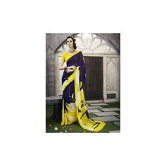 Viva N Diva Yellow & Navy Blue Color #Saree available at #Celebstall #ethnicwear #indianwear #fashion #style #trend #onlineshopping #partywear