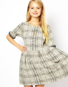 ASOS+Smock+Dress+In+Check+Textured+Fabric