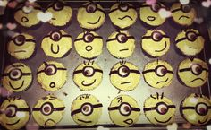 Minion Fondant Cupcakes with butter cream frosting! my own creation :D