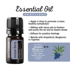 Juniper Berry essential oil can help reduce the appearance of skin blemishes.