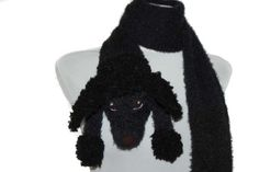 Black poodle portrait / Knitted black poodle scarf / by TaniaSh