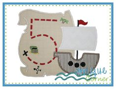 Applique Corner Applique Design, Pirate Number Map Number Applique Design