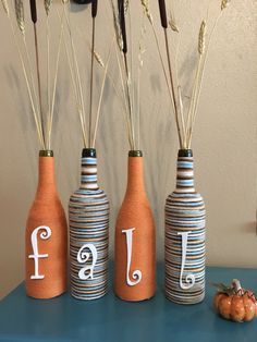 A personal favorite from my Etsy shop https://www.etsy.com/listing/482358729/fall-wine-bottles-decorative-wine