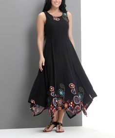 Look what I found on #zulily! Black Garden Handkerchief Maxi Dress - Plus #zulilyfinds
