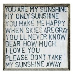 "You Are My Sunshine Square Reclaimed Wood Frame Wall Art - 25""W"
