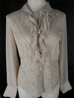 Bandolino Beige Ecru Boho Peasant Lace Accent Button Front Blouse Top 8 | eBay