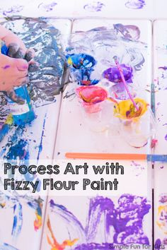 We had a ton of fun with this homemade paint recipe: Process Art with Fizzy Flour Paint is great for toddlers, preschoolers, kindergarteners - actually, for kids of all ages!