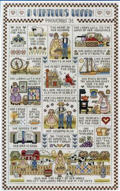 A Virtuous Woman - A Janlynn counted cross stitch kit Cross Stitch Samplers, Counted Cross Stitch Patterns, Cross Stitch Designs, Cross Stitching, Cross Stitch Embroidery, Embroidery Patterns, Religious Cross Stitch Patterns, Hand Embroidery, Virtuous Woman