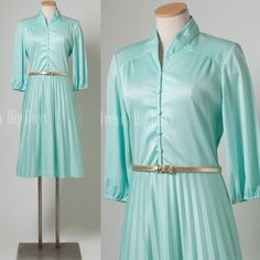 Vintage 70s dress Mint green pleated aline Dress by TrendyHipBuysVintage, $39.00