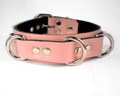 """1.25"""" Baby Pink Leather BDSM bondage Collar with triple dee rings- for fetish slave sub or sissy by VonBondage on Etsy https://www.etsy.com/listing/169033627/125-baby-pink-leather-bdsm-bondage"""
