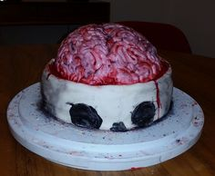 solid cake with buttercream, fondant. Halloween by Heather Arbiter Buttercream Fondant, Halloween 2015, Skull, Hand Painted, Cakes, Desserts, Ideas, Food, Tailgate Desserts