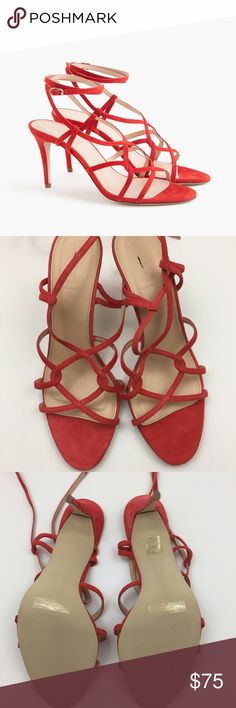 "J.Crew/JCrew Strappy Suede High Heel Sandals 10.5 Gorgeous 'flame' colored suede Strappy sandals by J.Crew. 3 3/8"" heel, new without box. J. Crew Shoes Heels"