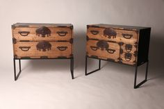 Pair of 19th Century Tansu Chests with Fan Shaped Hardware   From a unique collection of antique and modern commodes and chests of drawers at https://www.1stdibs.com/furniture/storage-case-pieces/commodes-chests-of-drawers/