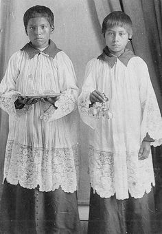 Choctaw altar boys - 1900? – 1915?  - Photographer: Unknown - From Marquette University Archives. (Photoshopped b&w copy)