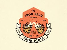 Love the clinking beer glasses for a coat of arms....  Iron Pints logo