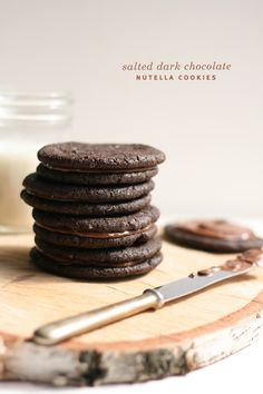 Salted Dark Chocolate Nutella Cookies from @Melissa : The Fauxmartha #cookies #chocolate #nutella