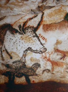 Lascaux - Taureau chevaux et cerfs