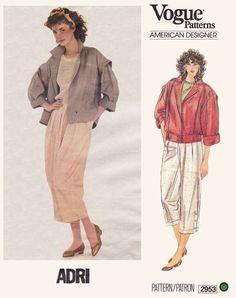 Vintage Pattern Vogue Adri 2953 New Wave Jacket Pants Capri Designer Vogue Sewing Patterns, Vintage Sewing Patterns, Clothing Patterns, Sewing Ideas, Sewing Projects, Vintage Wardrobe, Fashion Design Sketches, Green Pattern, Green Fabric