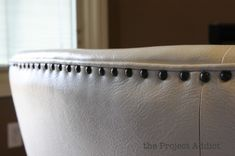 nailhead trim on a restored leather chair, The Project Addict featured on Remodelaholic Clean White Leather, Nailhead Trim, Home Living Room, Diy Furniture, Restoration, Upholstery, Blue And White, Chair, Restore