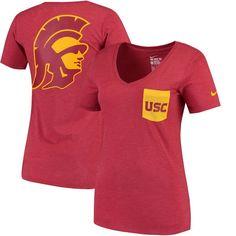 94363236db4 USC Trojans Nike Women's Pocket Tri-Blend Mid V-Neck T-Shirt - Cardinal