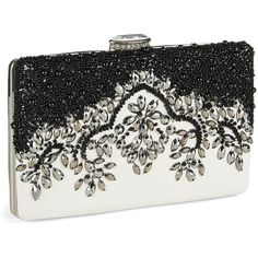 SASHA Beaded Clutch (115 AUD) ❤ liked on Polyvore featuring bags, handbags, clutches, black, beaded handbags, colorblock handbags, black handbags, black purse and beaded clutches