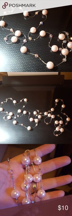 """Pink Pearls and Pink Crystals This is an awesome 26"""" iridescent pale pink pearl necklace with beautiful pale pink crystals.  You can wear this long, silcer toned doubled, or tripled.  So pretty, and in like new condition. Jewelry Necklaces"""
