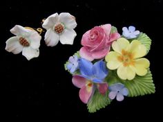 Staffordshire Cara China Flower Brooch Pin by theCollectiveMind