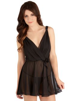 Siesta the Dress Nightgown and Thong Set. You cant say no to a luxurious nap while sporting this sheer black nightgown and matching thong by Flora Nikrooz! #black #modcloth