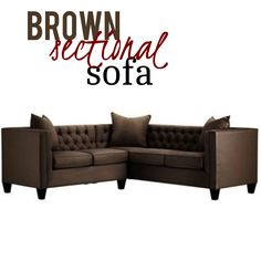 You can relax and sit back in style with this brown sectional couch. It offers a sleek, straight profile and elegant button tufting with tapered legs come together to give any area the right amount of sophisticated touch. Not only that, includes a three-cushion sofa; a two-cushion, one-arm loveseat; and three accent pillows. Brown Sectional, Sectional Sofa, Sofas, Couch, Sit Back, Hollywood Regency, Sofa Furniture, Cushions On Sofa, Contemporary Furniture