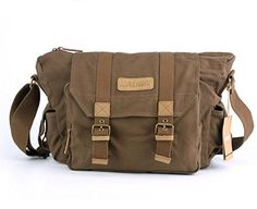 Modovo Canvas Leisure DSLR SLR Camera Bag Messenger Bag Adjustable Bottom Straps for Tripod Removable Inside Pad 15x 7x 11  No Tripod Included  Brown * Read more reviews of the product by visiting the link on the image.